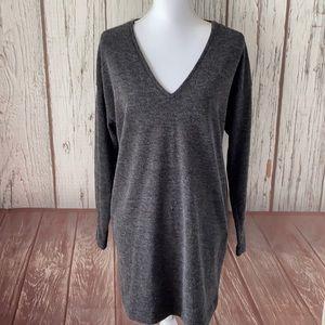 Zara heather gray V-neck sweater dress size medium